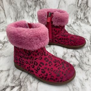 Ugg Jorie leopard print pink zip up boots 10
